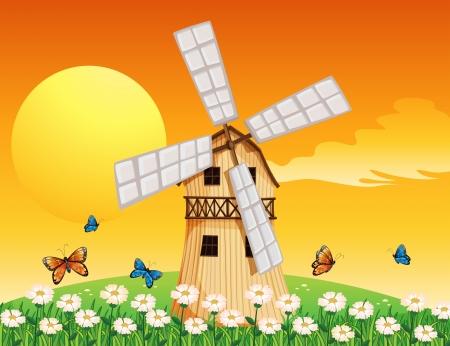 barnhouse: Illustration of a wooden windmill at the garden Illustration