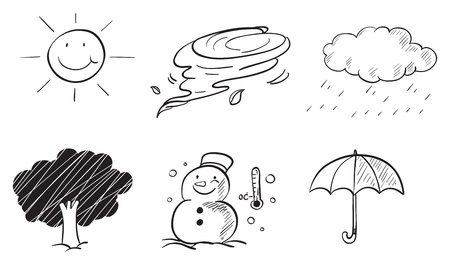 rainy season: Illustration of the different kinds of weather on a white background