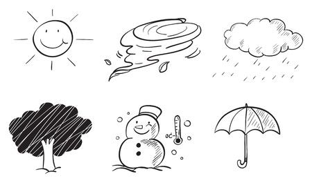 sun protection: Ilustraci�n de los diferentes tipos de tiempo sobre un fondo blanco
