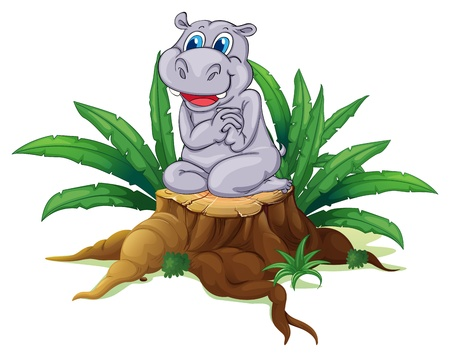 timber cutting: Illustration of a hippopotamus sitting above the wood on a white background