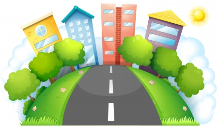 establishments: Illustration of the four different kinds of buildings on a white background