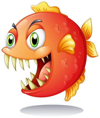 predator: Illustration of an orange piranha on a white background