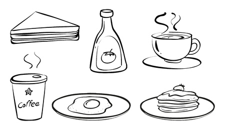 melaware: Illustration of the foods and drinks for breakfast on a white background Illustration