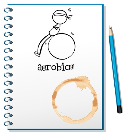 Illustration of a notebook with a drawing of a boy doing aerobics on a white background Stock Vector - 19301408