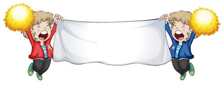 Illustrazione dei due ragazzi in possesso di un banner vuoto su uno sfondo bianco