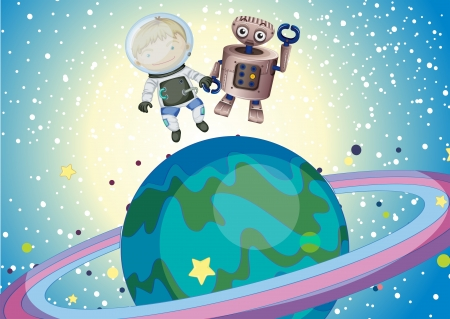 milkyway: Illustration of a boy and a robbot in the outer space