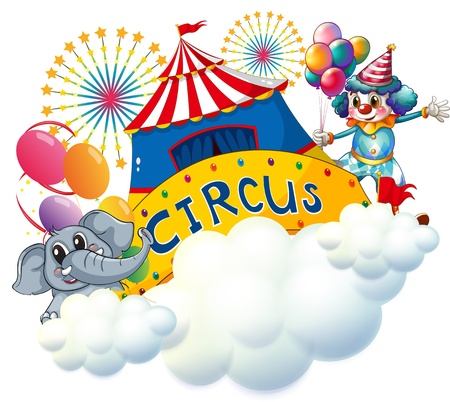 Illustration of an elephant and a clown with a circus signage in the center on a white background Illustration