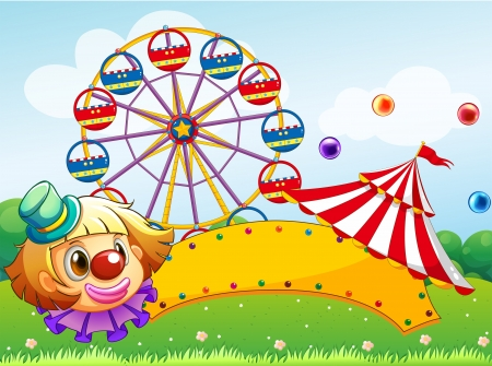 Illustration of an empty signboard with a clown in front of a ferris wheel Vector