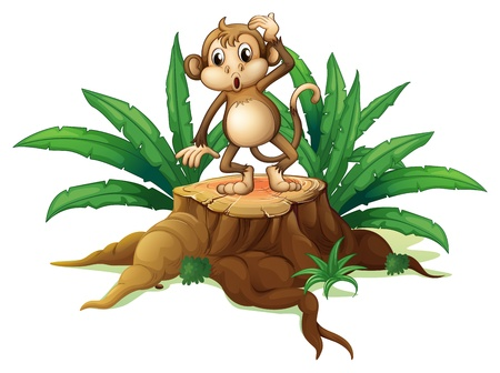 Illustration of a playful young monkey above a wood on a white background