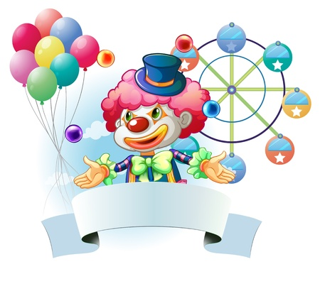 oblong: Illustration of a clown with a signage and a ferris wheel and balloons at the back on a white background