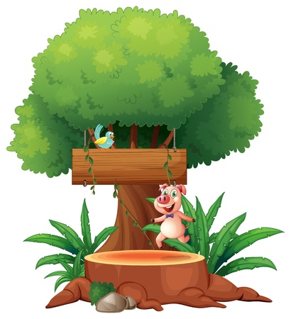 space: Illustration of a pig and a bird under the big tree on a white background