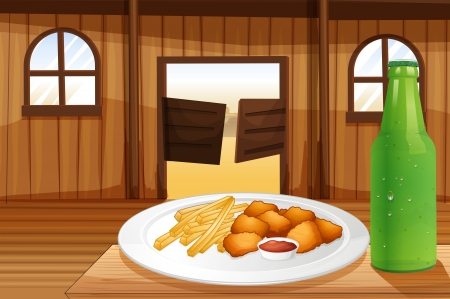 Illustration of a table with a plate of food and a soda Vector
