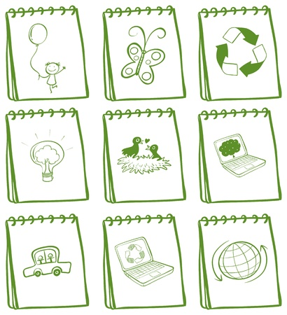 Illustration of a set of of green notebooks on a white background Stock Vector - 19301460