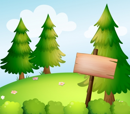 lllustration: lllustration of a blank wooden sign board in the forest