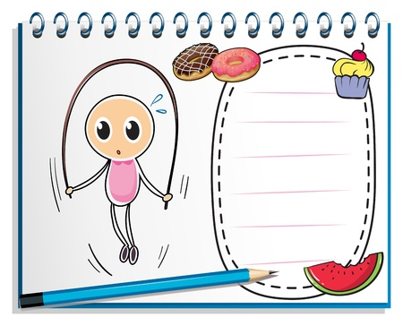 Illustration of a notebook with a drawing of a girl playing with the jumping rope on a white background Vector