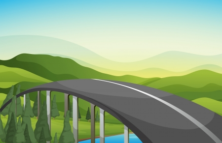 curve road: Illustration of a curve road with pine trees Illustration