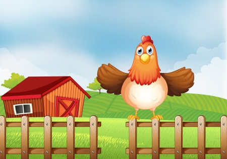 Illustration of a hen above the fence with a wooden house at the back Illustration