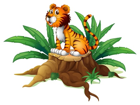 illegal logging: Illustration of a big tree with a tiger on a white background
