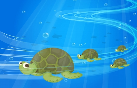 Illustration of the turtles under the sea Vector