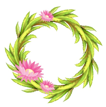 beautification: Illustration of a green border with pink flowers on a white background Illustration