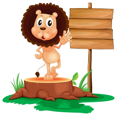 Illustration of a lion above a trunk beside a wooden signboard on a white background Stock Vector - 19301528