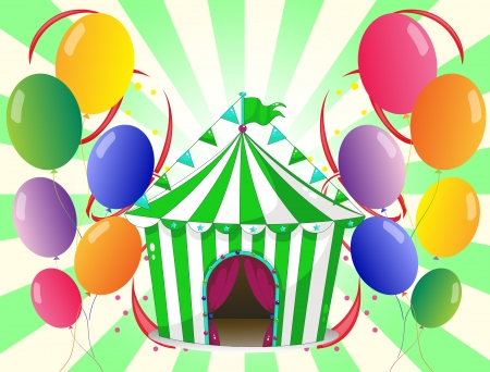 green: Illustration of a green circus tent at the center of the colorful balloons on a white background