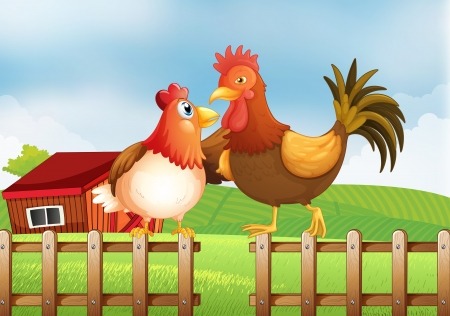 Illustration of a hen and a rooster above the fence with a wooden house at the back Illustration