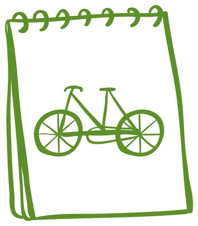 Illustration of a green notebook with a drawing of a bike on a white background Vector