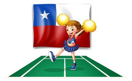 bandera de chile: Ilustraci�n de un baile animadora delante de la bandera de Chile sobre un fondo blanco