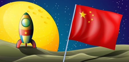 flagpole: Illustration of a spaceship with the flag of China in the outerspace