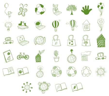 Illustration of the different eco-friendly objects on a white background  Vector