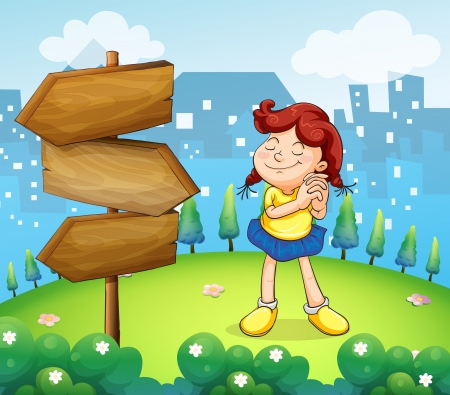 pointed arrows: Illustration of a little girl standing beside the wooden arrow boards