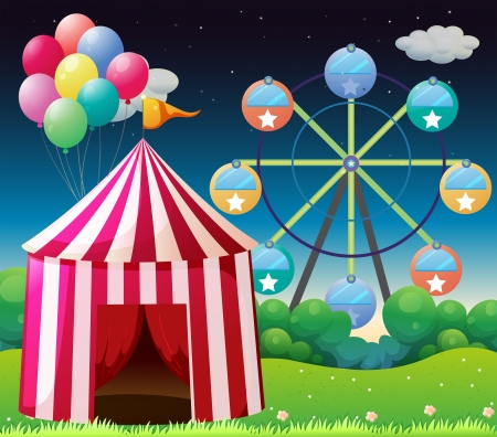 occassion: Illustration of a red circus tent with balloons Illustration