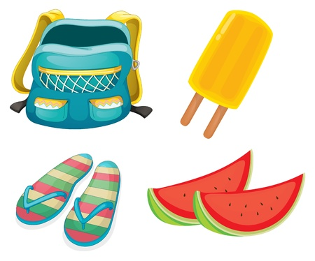 beach bag: Illustration of a backpack, a pair of slippers and foods for refreshment on a white background Illustration