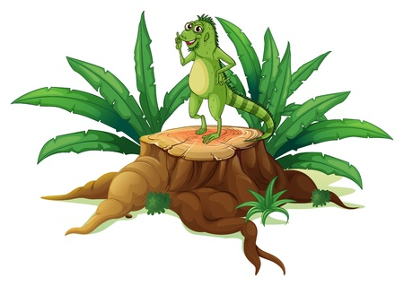 illegal logging: Illustration of a trunk with an iguana on a white background Illustration