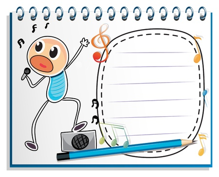 Illustration of a notebook with a drawing of a boy singing on a white background Stock Vector - 19301301