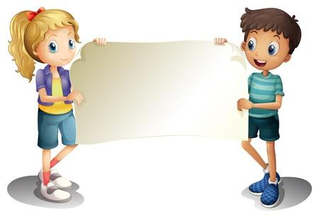 Illustration d'une fille et un garçon tenant une bannière vide sur un fond blanc