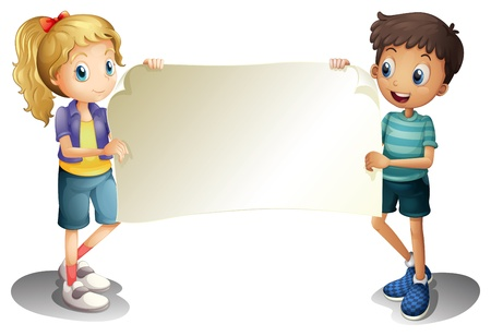 Illustration of a girl and a boy holding an empty banner on a white background