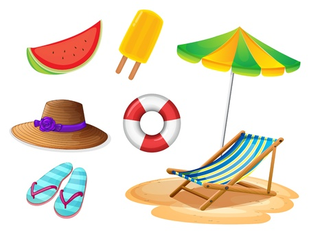 beach umbrella: Illustration of the summer foods and things on a white background