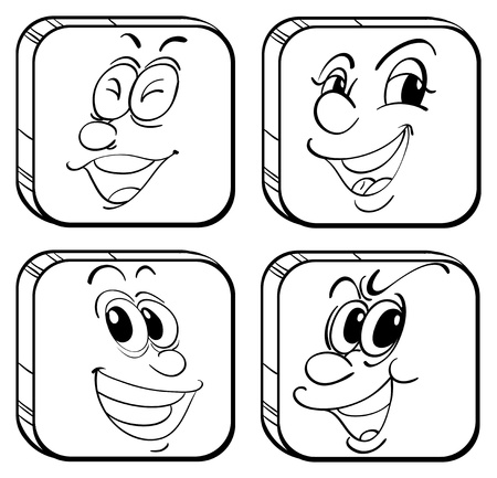 Illustration of the four square faces on a white background Stock Vector - 19301332