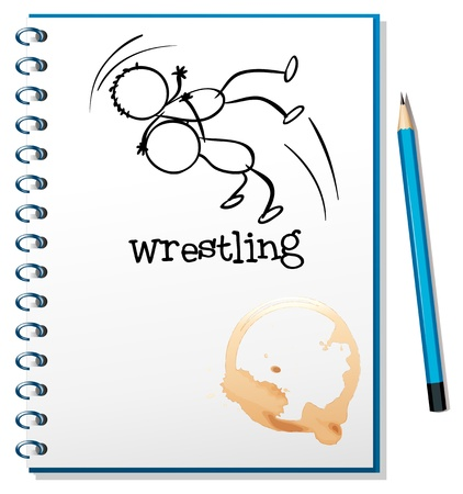 Illustration of a notebook with a drawing of a wrestler on a white background Stock Vector - 19301316