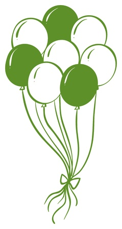 backgorund: Illustration of a green and white balloons on a white backgorund Illustration