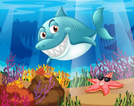 star fish: Illustration of a shark and a starfish under the water