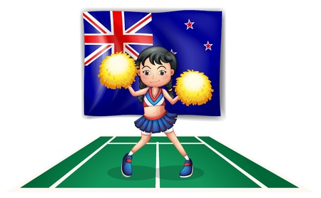 new zealand flag: Illustrazione di un cheerdancer carino davanti alla Nuova Zelanda bandiera su uno sfondo bianco Vettoriali
