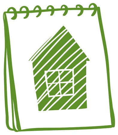 green: Illustration of a green notebook with a drawing of a green house on a white background Illustration