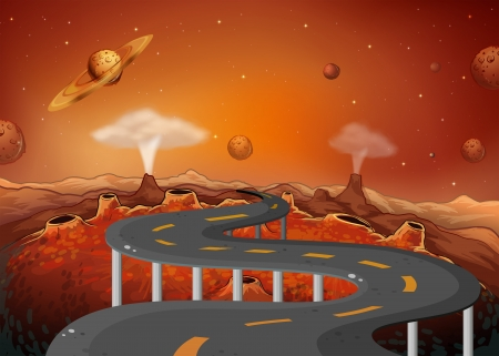 roadtrip: Illustration of a road with planets in the outer space