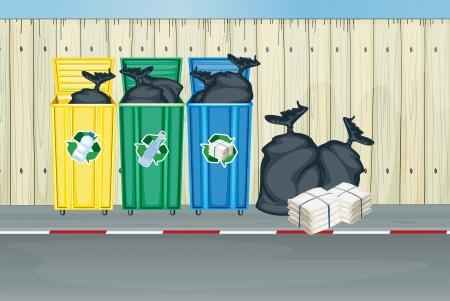 separacion de basura: Ilustración de los tres colores diferentes de los botes de basura