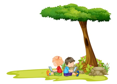 kids laptop: Illustration of a girl and a boy with laptops under the tree on a white background