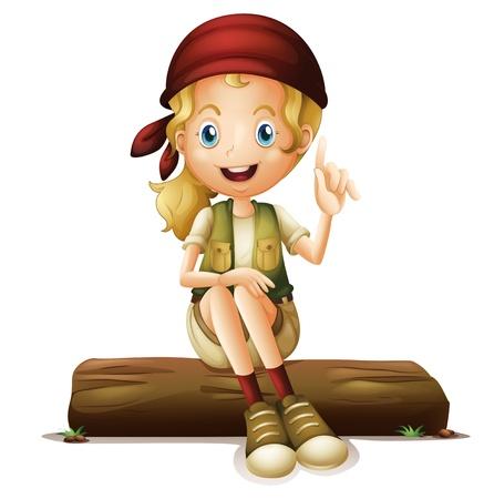 niños sentados: Ilustración de una niña sentada en un fondo blanco