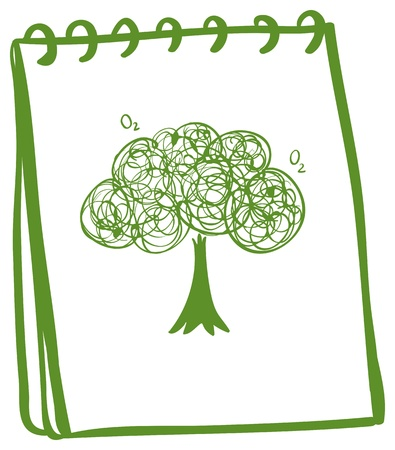 Illustration of a green notebook with a drawing of a tree on a white background Stock Vector - 19301392